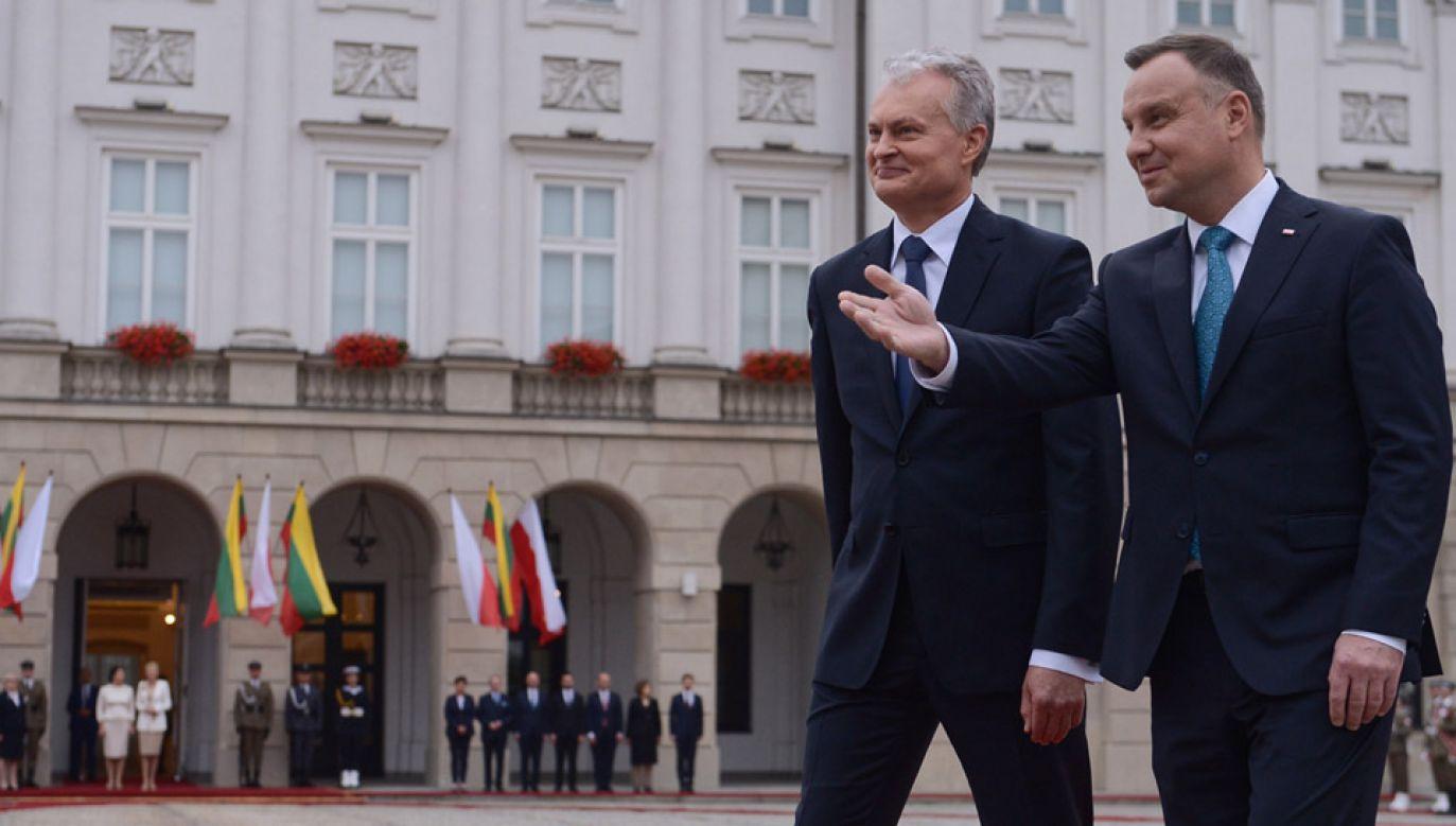 Prezydent Andrzej Duda oraz prezydent Litwy Gitanas Nauseda (fot. PAP/Marcin Obara)