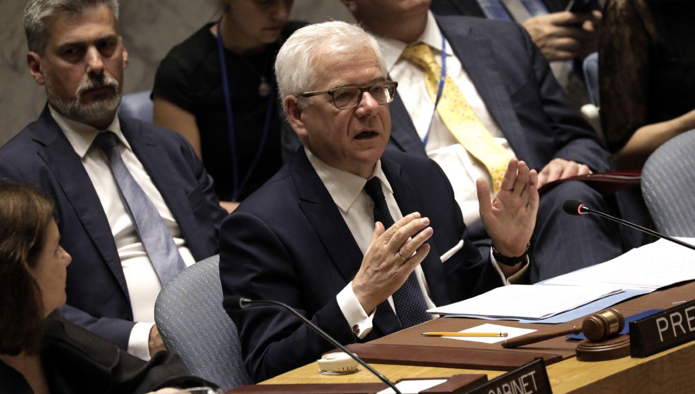 Wizyta ministra Czaputowicza w USA obejmowała także Chicago, gdzie rozmawiał z liderami organizacji polonijnych, w tym z prezesem Kongresu Polonii Amerykańskiej Frankiem Spulą (fot. PAP/EPA/Peter Foley)