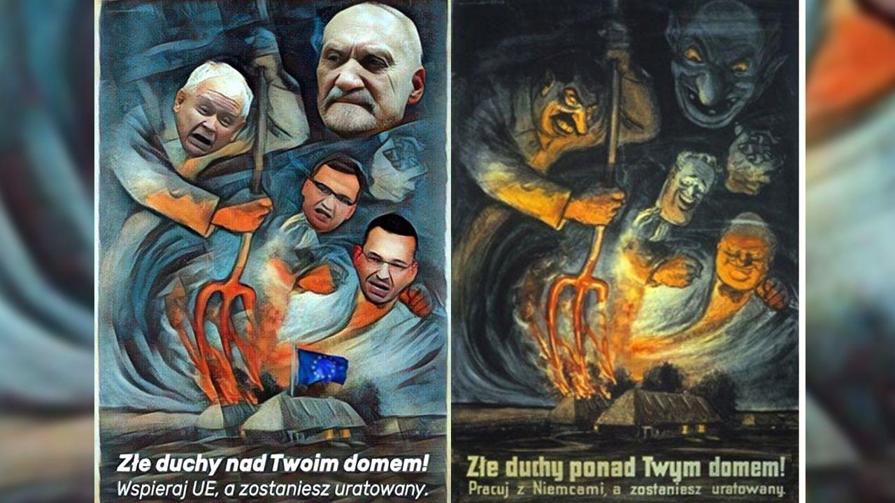 Poseł PO opublikował plakat, w którym polityków PiS przyrównano m.in. do Stalina (fot. TT/Piotr Woźniak)