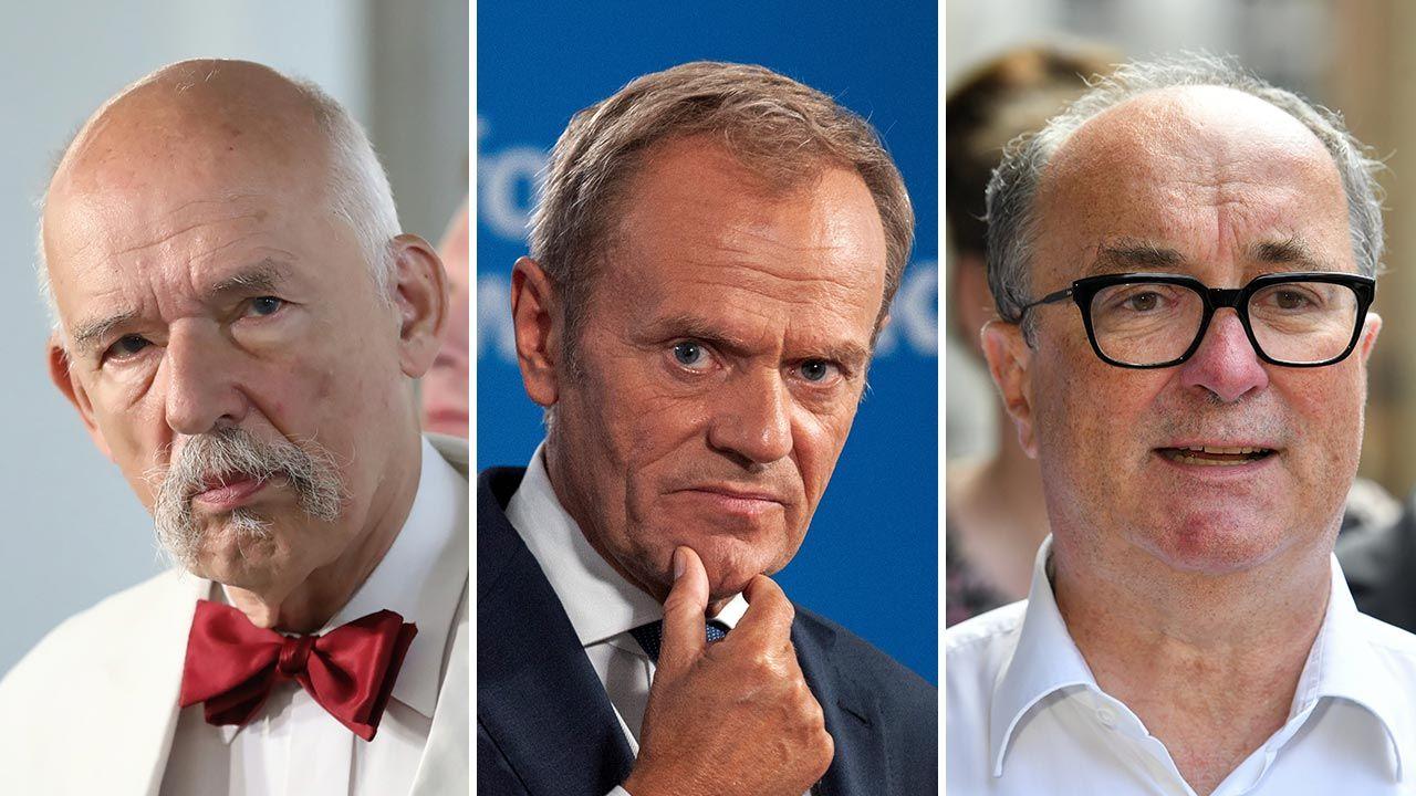 Podium najbogatszych liderów politycznych w Polsce: Donald Tusk (w środku), Janusz Korwin Mikke (z lewej) i Włodzimierz Czarzasty (fot. PAP/Tomasz Gzell; Forum/FotoNews/GRZEGORZ KRZYZEWSKI; PAP/Radek Pietruszka)