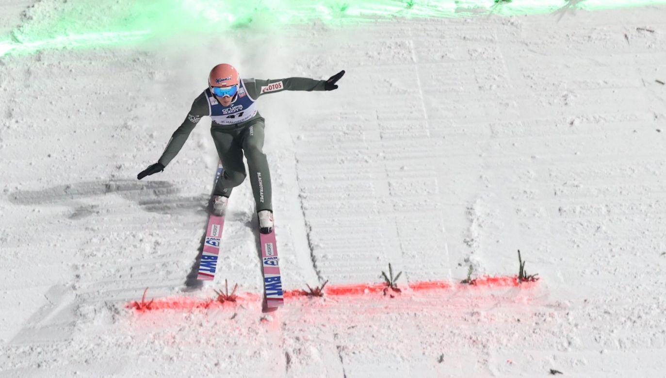Dawid Kubacki podczas zawodów w Zakopanem (fot. PAP)
