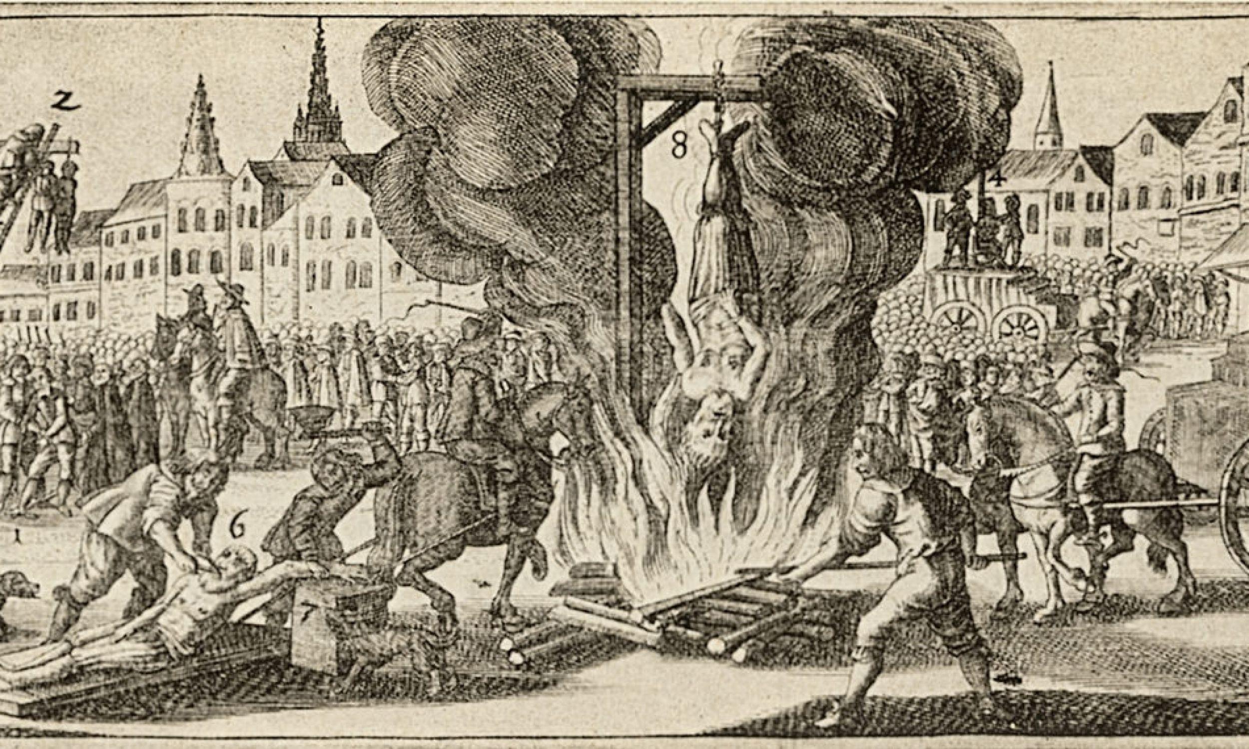 Egzekucja Ferdynanda Franza Engelbergera jako Żyda Chazzima z Engelbergu w Czechach, 1642 r. Rycina. Fot. Imagno/Getty Images