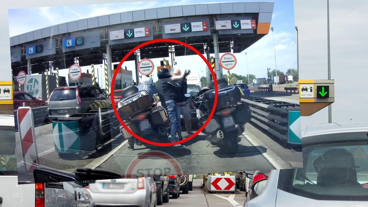 Do sieci trafiło nagranie bójki przed bramkami na A4 (fot. Shutterstock; Youtube/STOP CHAM)