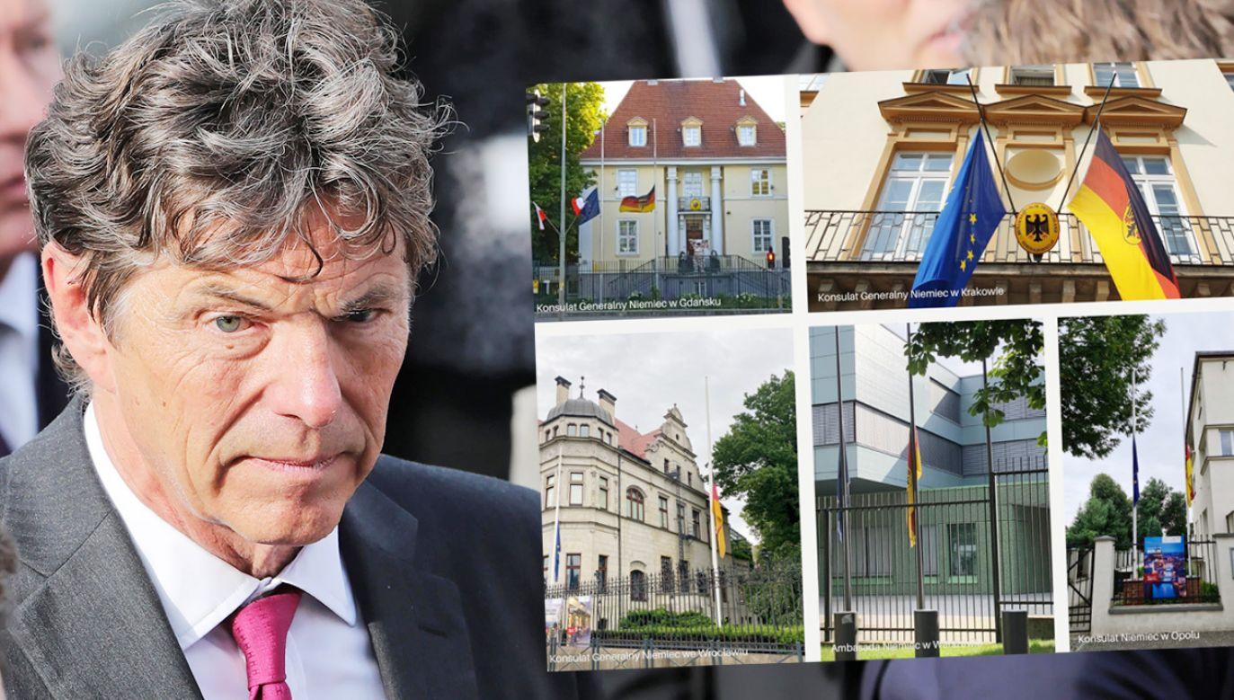 Flagi niemieckich przedstawicielstw w Polsce opuszczone są do połowy masztów (fot. PAP/Wojciech Olkuśnik;TT)