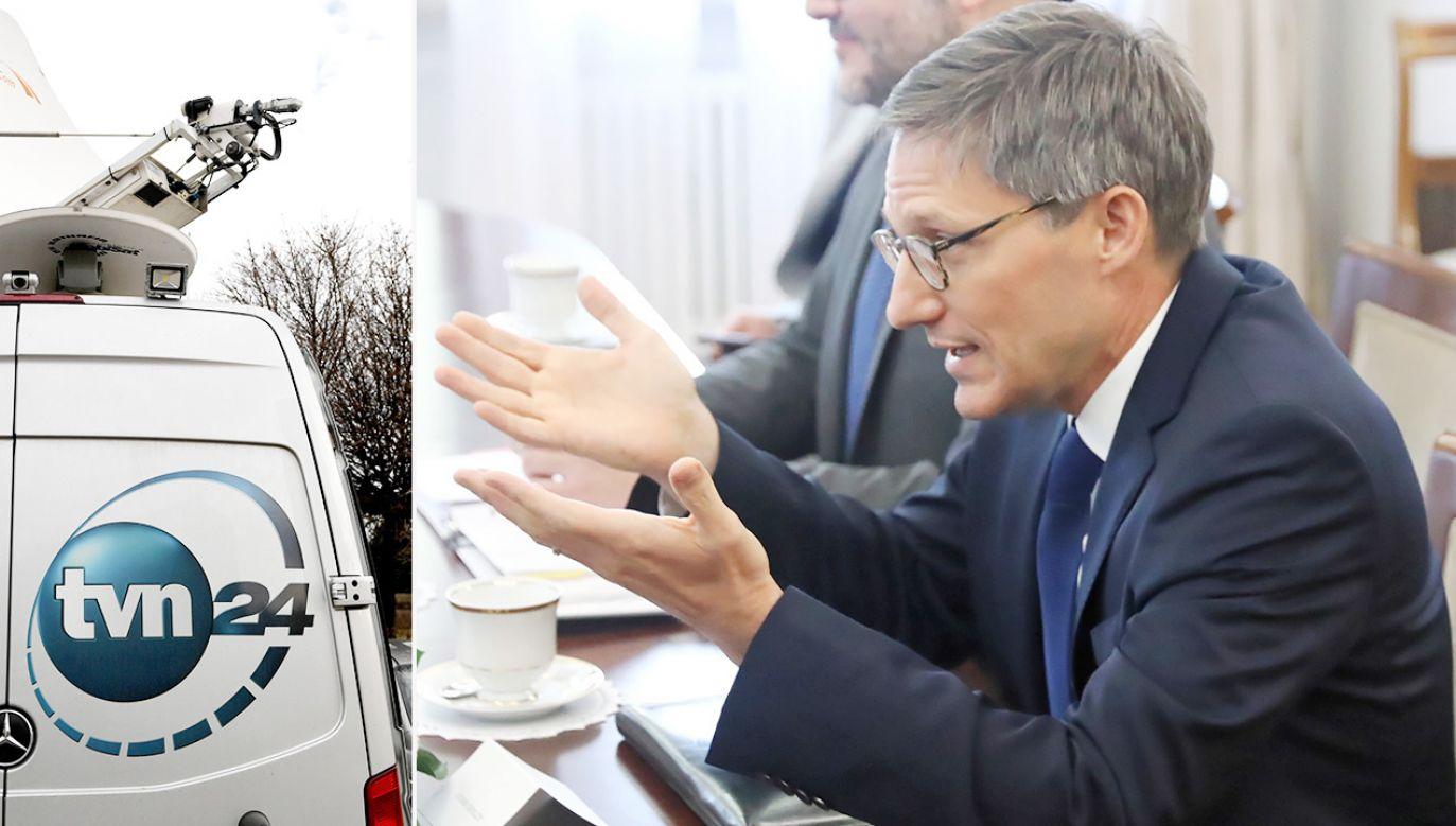 O koncesji dla TVN24 mówił przebywający w Polsce przedstawiciel Departamentu Stanu USA Derek Chollet (fot. PAP/Tomasz Gzell, Darek Delmanowicz)