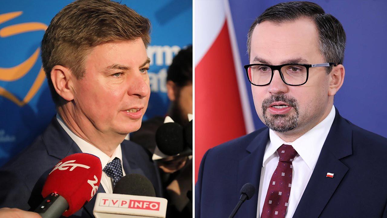 Jan Grabiec i Marcin Horała o luce VAT (fot. PAP/Wojciech Olkuśnik, Tomasz Gzell)