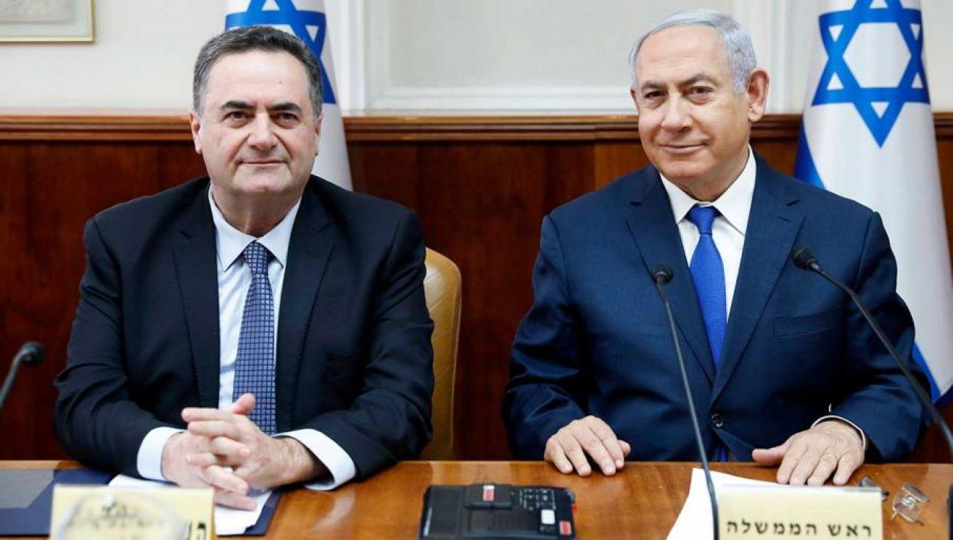 Szef izraelskiego MSZ Israel Katz i premier Benjamin Netanjahu (fot. arch. PAP/ABIR SULTAN / POOL)