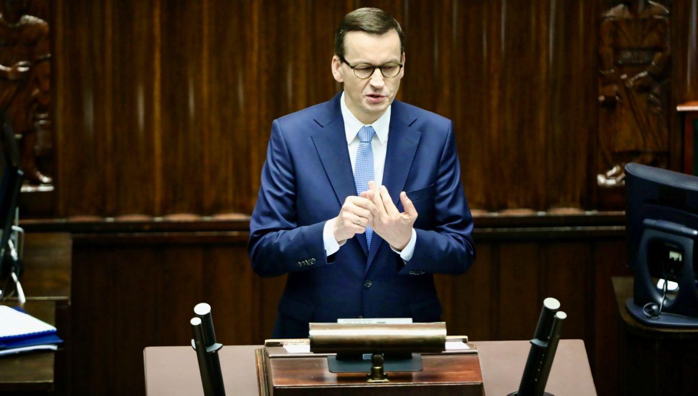 Premier Morawiecki o epidemii i kryzysie gospodarczym(fot. PAP/Wojciech Olkuśnik)