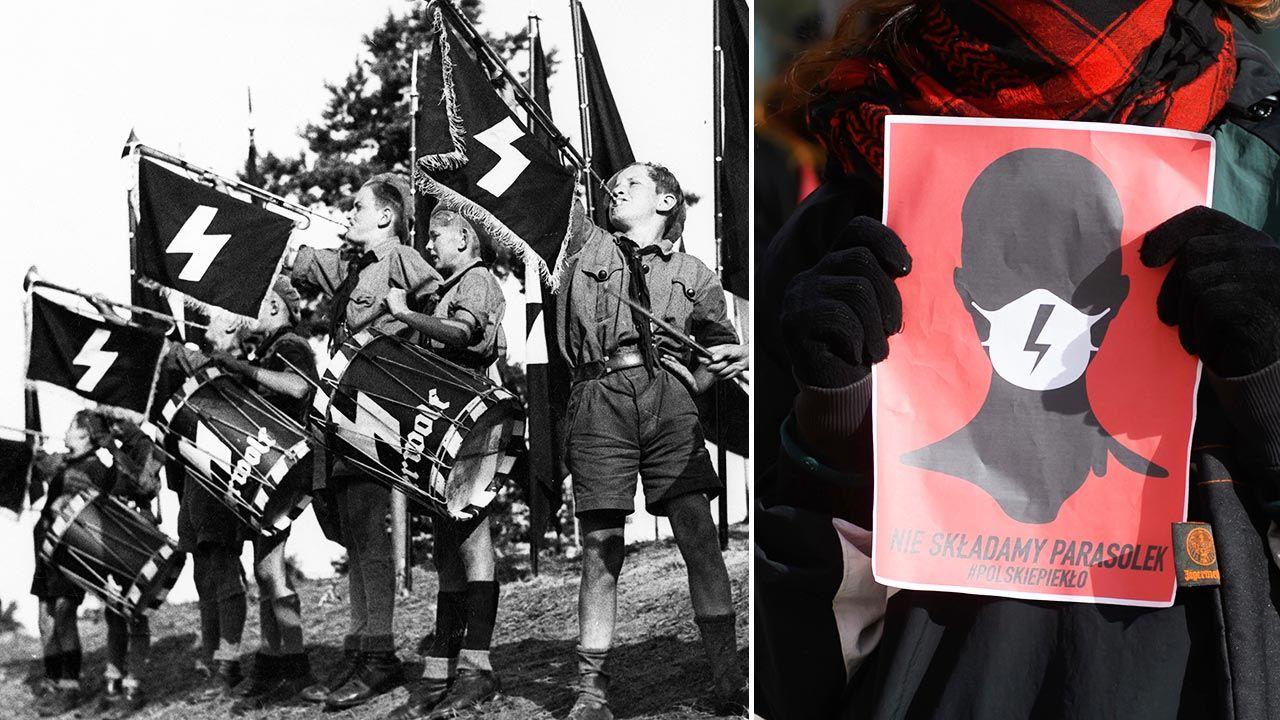 """Pojedyncza runa """"sig"""" była na emblematach mundurów Hitlerjugend (fot. Argusphot/ullstein bild via Getty Images; PAP/Jakub Kaczmarczyk)"""