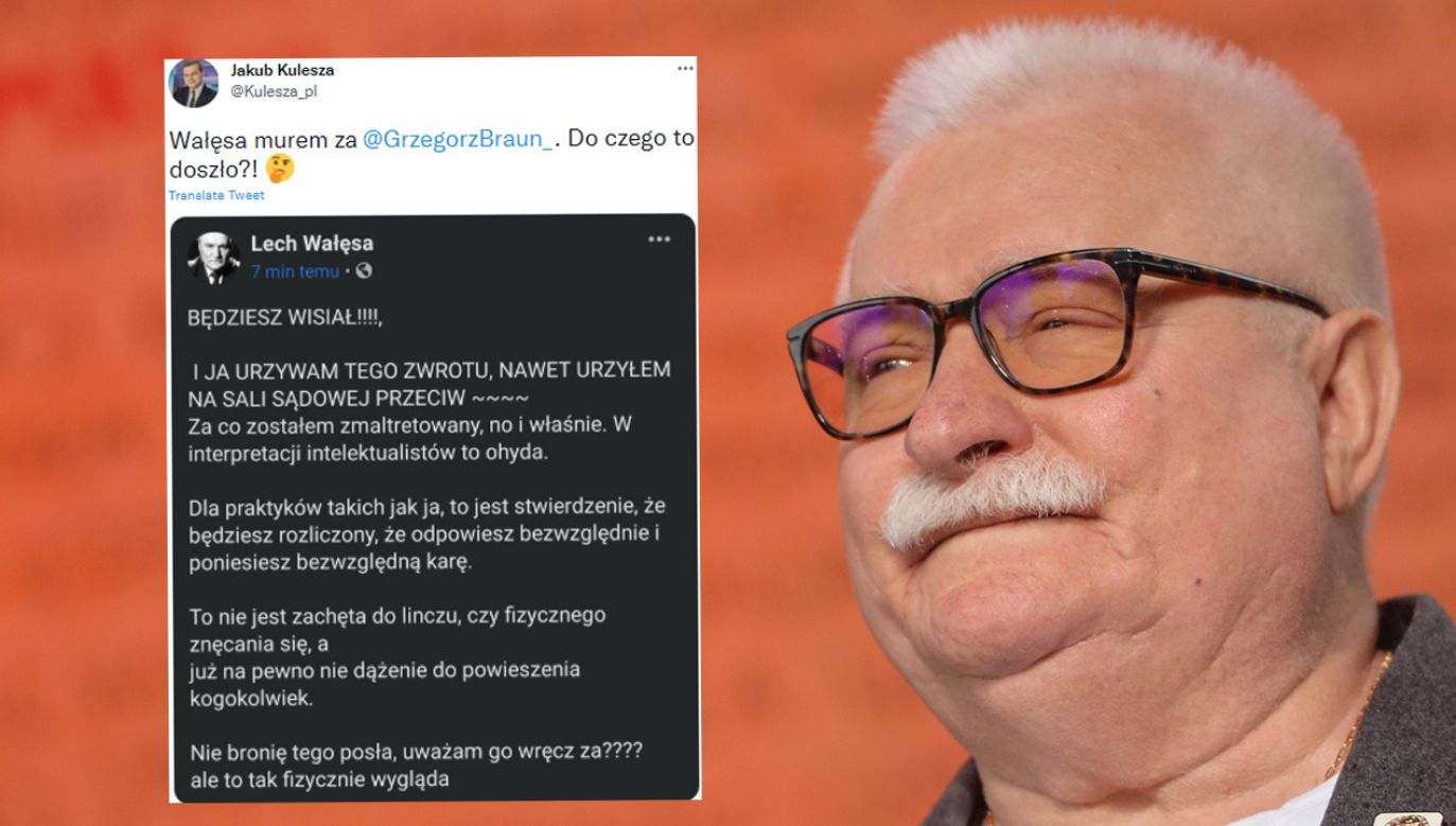 Lech Wałęsa wziął w obronę Grzegorza Brauna (fot. Artur Widak/NurPhoto via Getty Images)