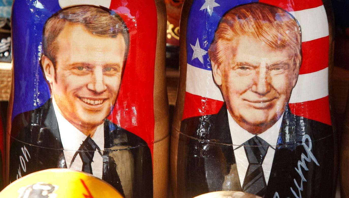 Politycy przedstawiający się jako obrońcy państwa narodowego, tacy jak Donald Trump i Emmanuel Macron, sami są przedstawicielami świata globalnego kapitału. Na fotografii matrioszki Macrona i Trumpa w Kijowie. Fot. STR/NurPhoto via Getty