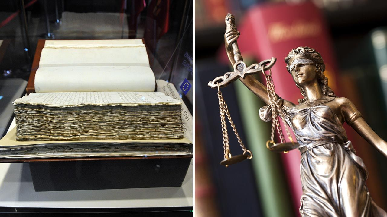 Konstytucja 3 maja wprowadzała trójpodział władzy (fot. PAP/Marcin Bielecki; Shutterstock/sebra)