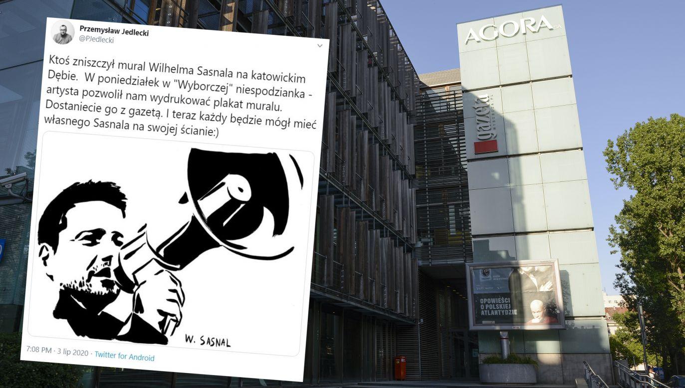 """""""GW"""" będzie rozdawać plakat Rafała Trzaskowskiego  (fot. Jaap Arriens/NurPhoto via Getty Images; Twitter/Przemysław Jedlecki)"""