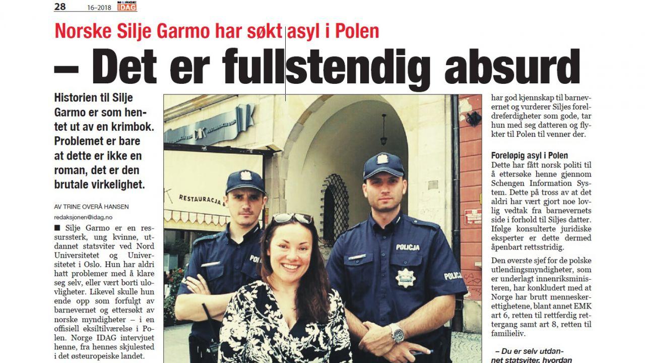 """Fragment artykułu """"Norge Idag"""", który zniknął z sieci kilka godzin po publikacji (fot. Norge Idag)"""