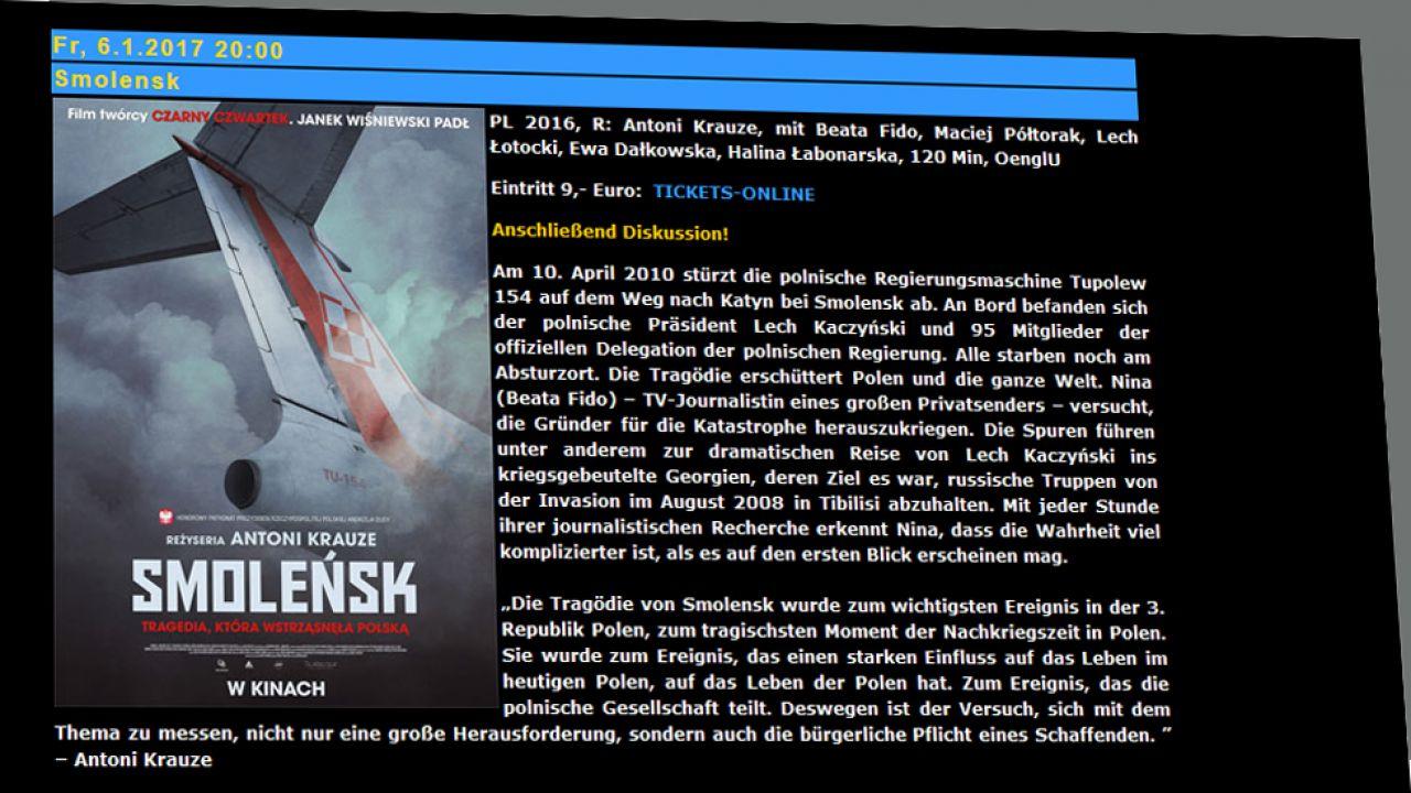 """Ponad 500 Polaków i Niemców obejrzało w piątek w Berlinie film """"Smoleńsk"""" w reżyserii Antoniego Krauze"""