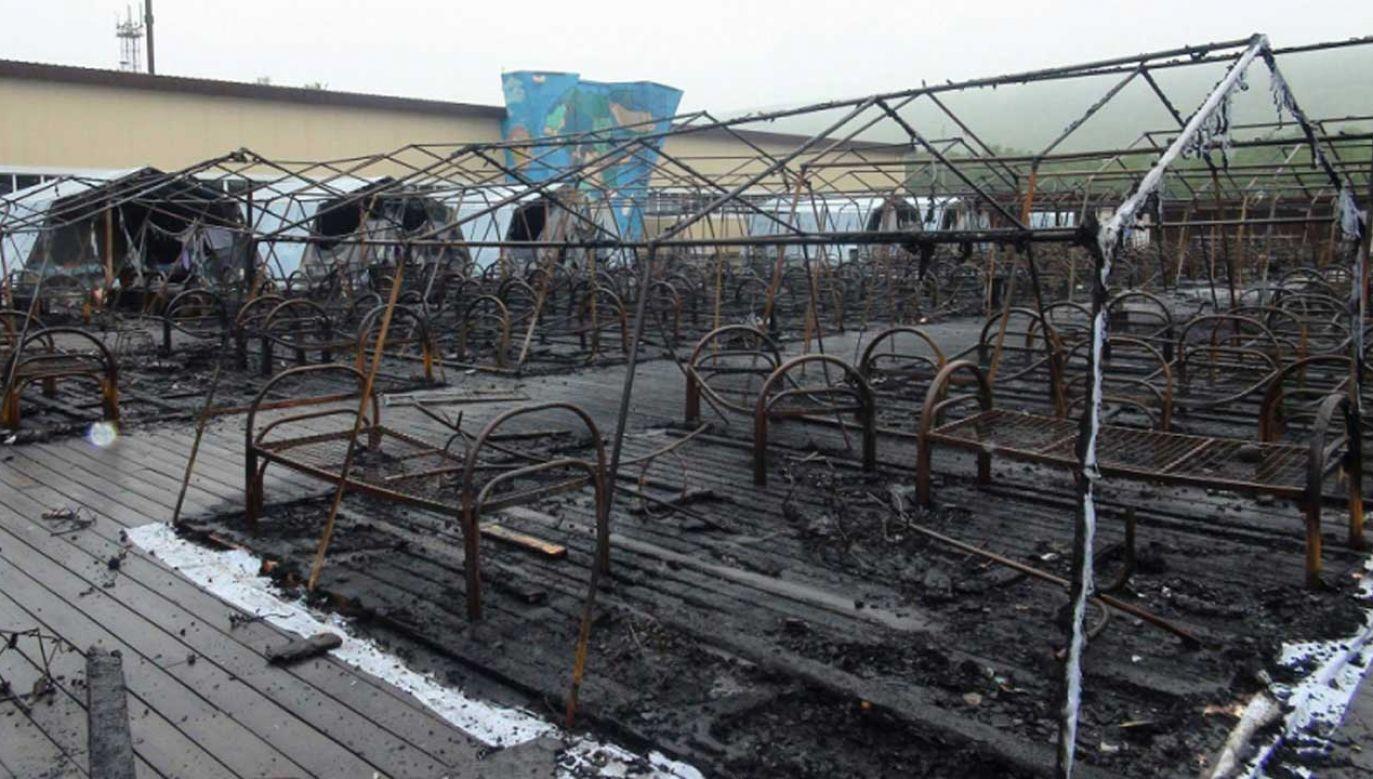 Jak informują źródła, pożar wybuchł najprawdopodobniej przez niesprawny grzejnik w jednym z namiotów (fot. PAP/ EMERGENCIES MINISTRY HANDOUT)