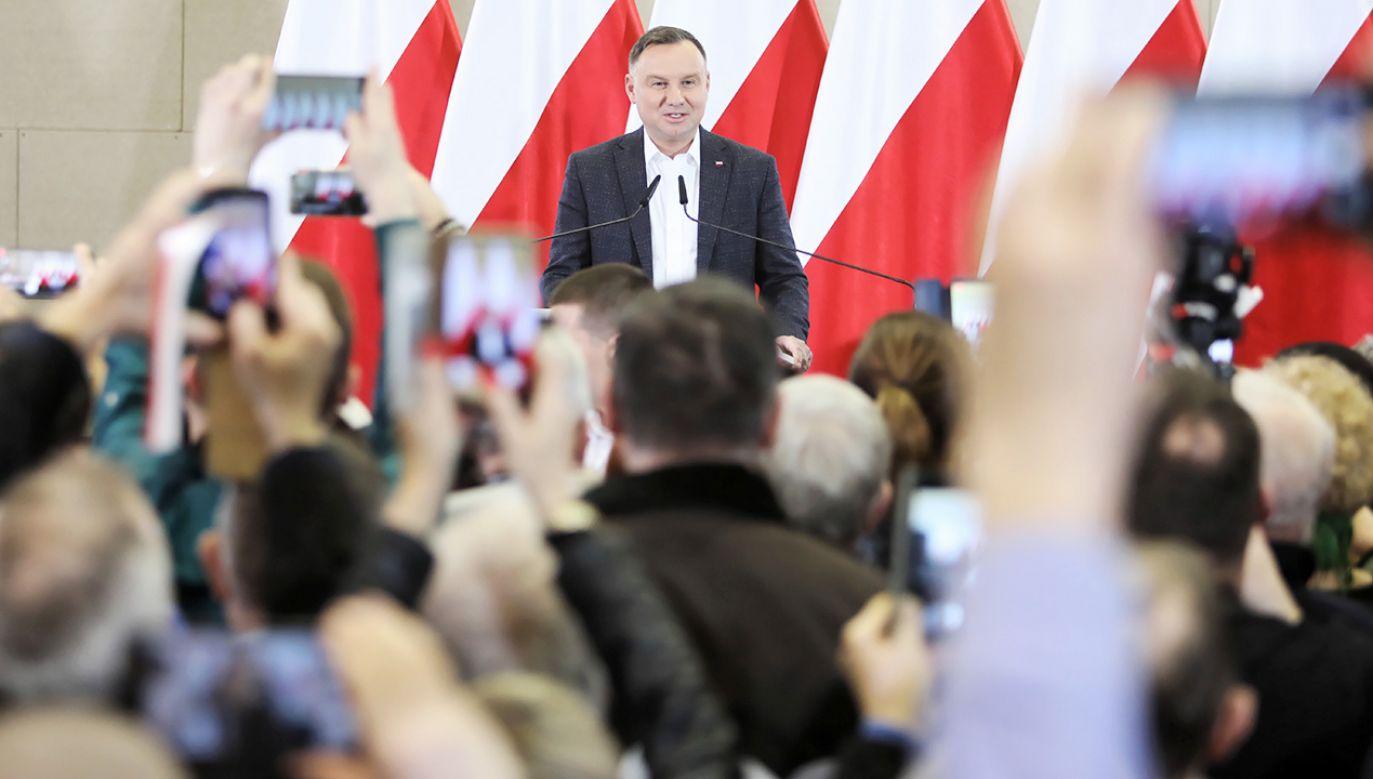 Andrzej Duda apelował w Turku o merytoryczne, spokojne dyskusje w trakcie kampanii wyborczej (fot. PAP/Leszek Szymański)