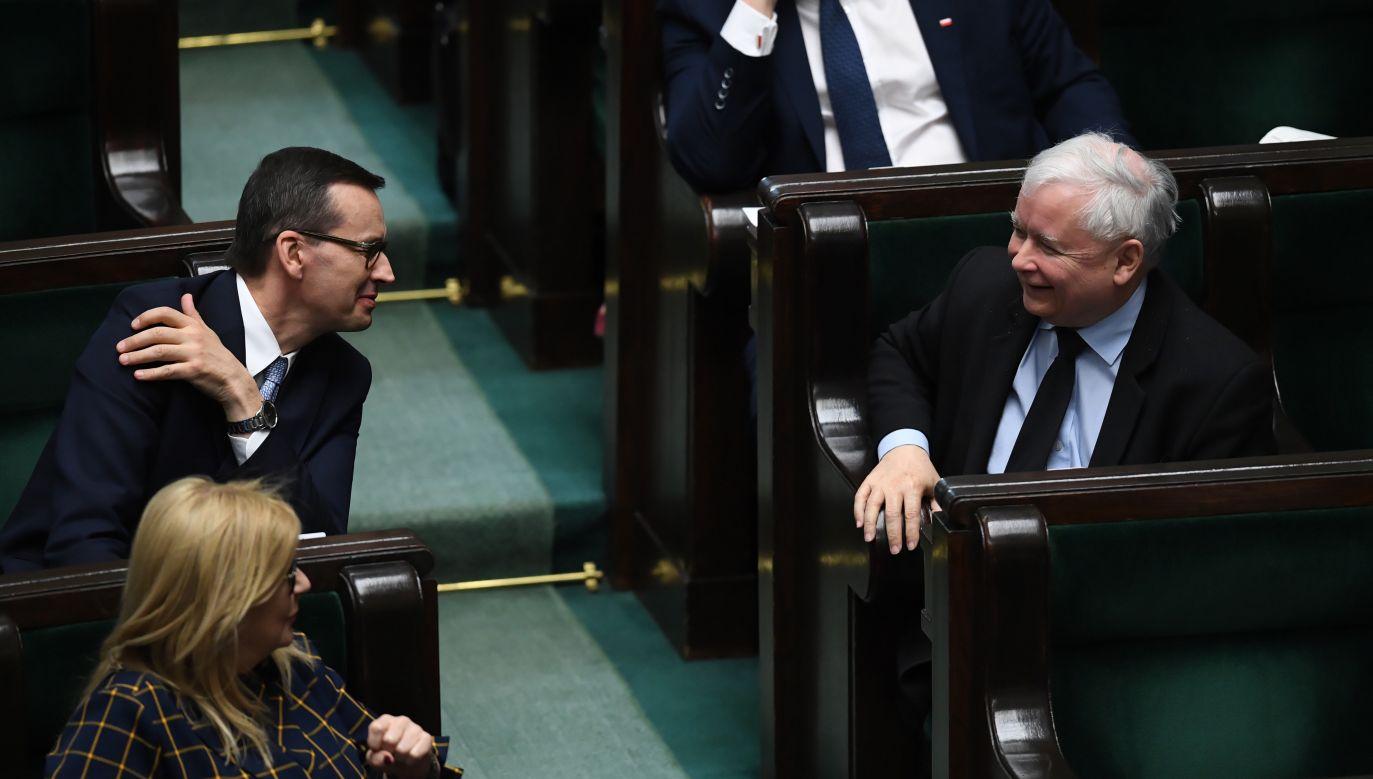Prezes PiS Jarosław Kaczyński i premier Mateusz Morawiecki (fot. PAP/Radek Pietruszka)