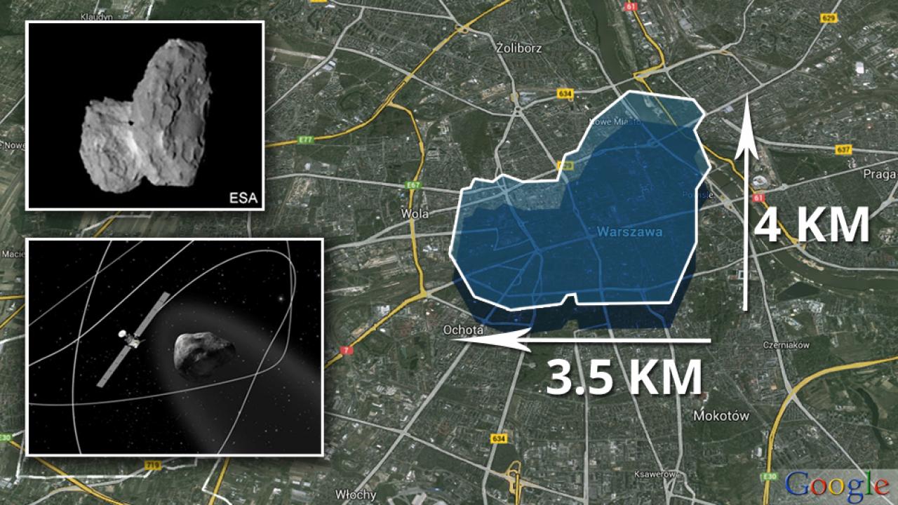 Wizualizacja komety nad Warszawą (graf. TVP.info/Paweł Chrabąszcz /bbc.com/space.com/google.com)