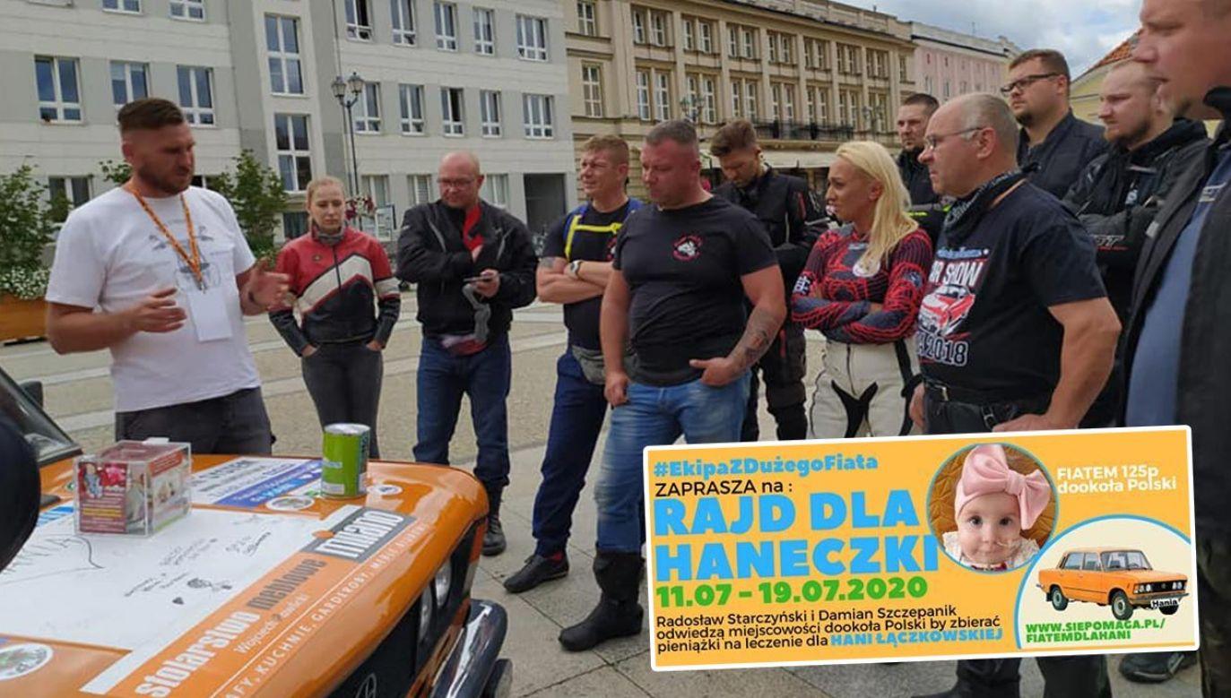 Na trasie rajdu w Białymstoku o wsparcie akcji zaapelowały kolejne grupy motocyklowe (fot. Facebook/Fiatem 125p dookoła Polski dla Hani Łączkowskiej)