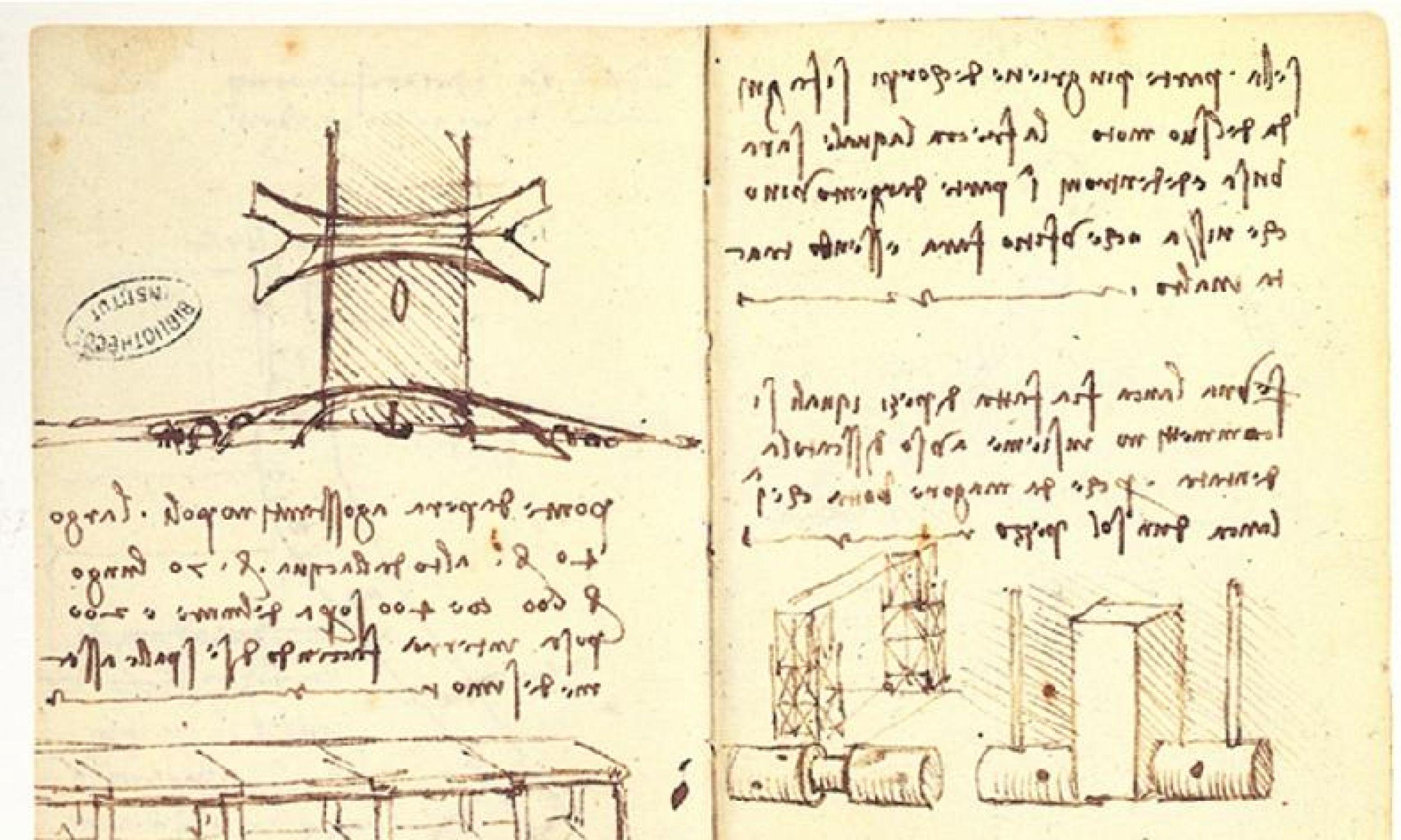 Szkic mostu w Konstantynopolu przygotowany przez Leonarda da Vinci w 1502 r. Fot. Wikimedia