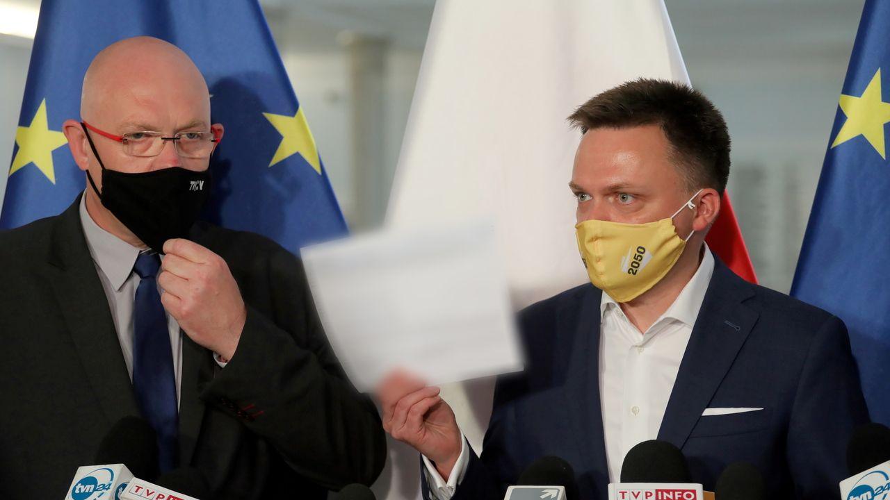 Szymon Hołownia i Michał Gramatyka (fot. PAP/Paweł Supernak)