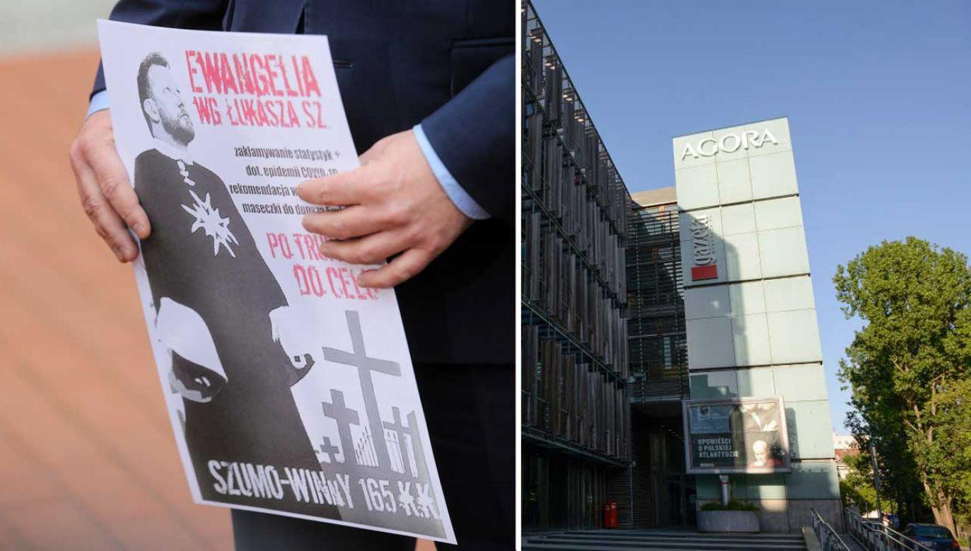 Plakaty wymierzone w Łukasza Szumowskiego pojawiły się przed weekendem na przystankach należącej do Agory spółki AMS (fot. PAP/Wojciech Olkuśnik; Jaap Arriens/NurPhoto via Getty Images)