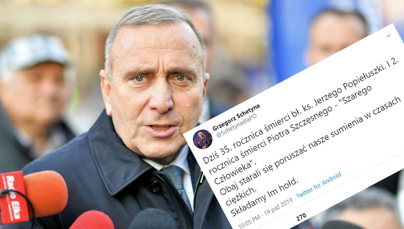 Grzegorz Schetyna zamieścił szokujący wpis na Twitterze (fot. PAP/Sebastian Borowski, Twitter)
