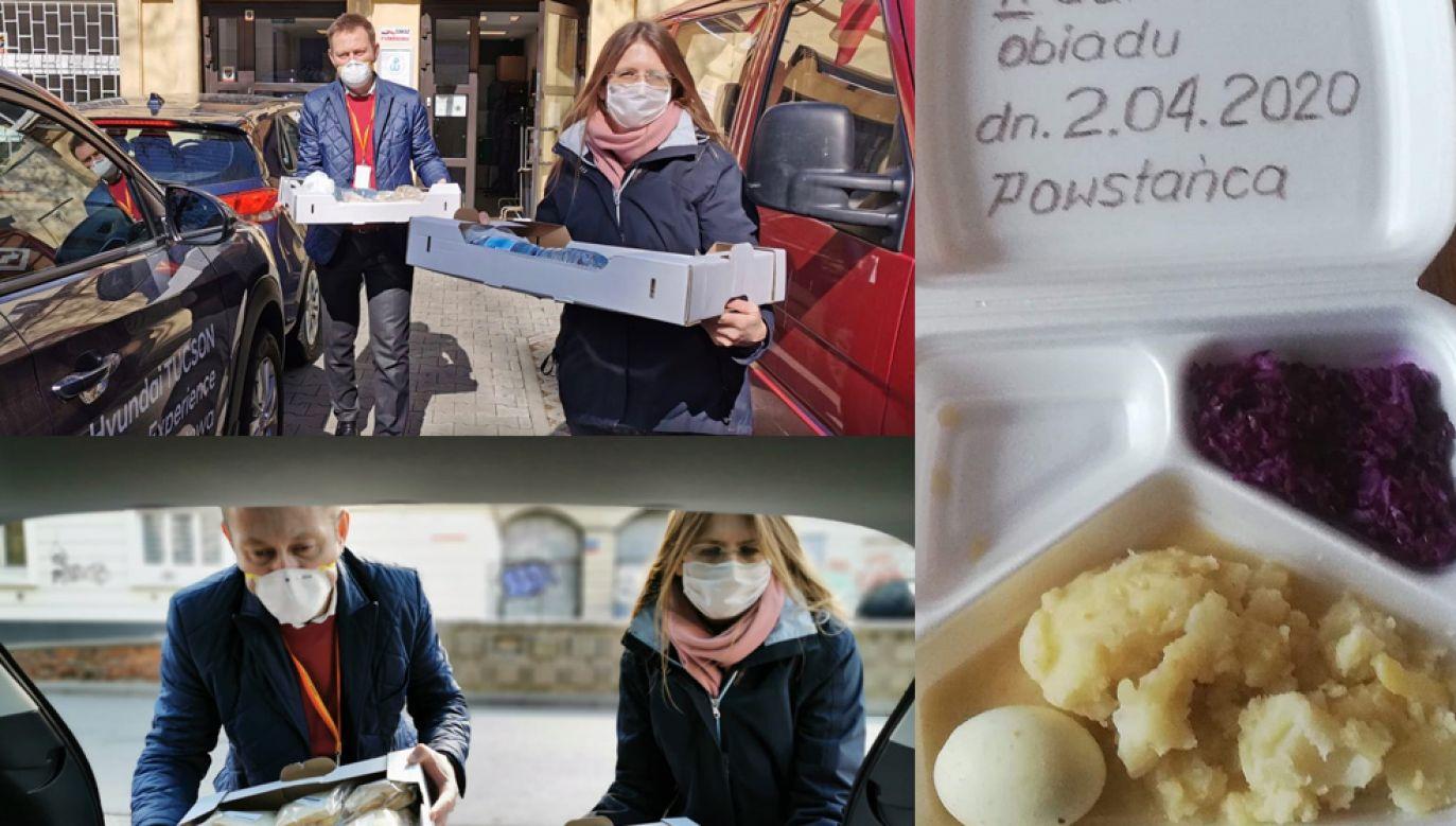 Akcją rozwożenia posiłków powstańcom chwalił się na Twitterze wiceprezydent Warszawy Paweł Rabiej (fot. Twitter/ Paweł Rabiej; Facebook/ Lemingopedia)