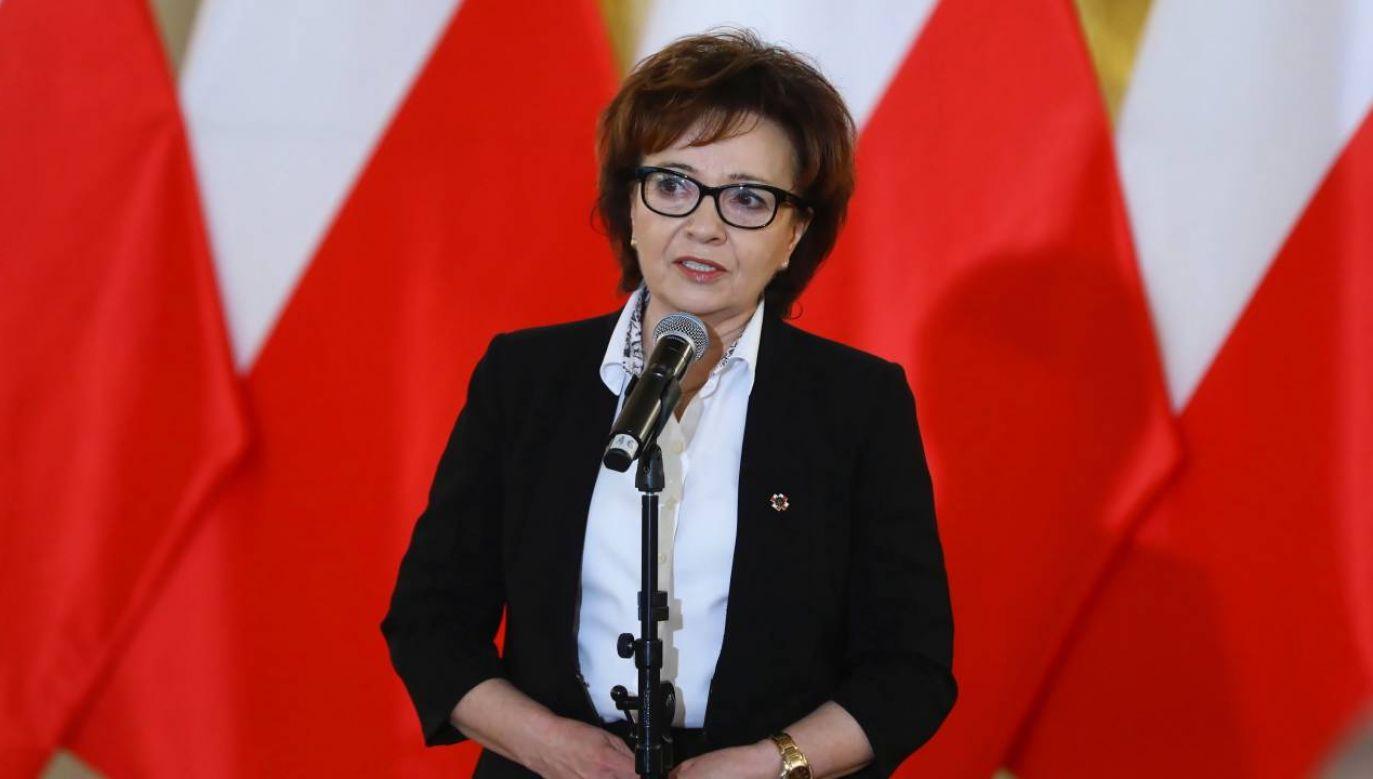 """Marszałek Sejmu Elżbieta Witek podczas XI Gali Konkursu """"Być Polakiem"""" (fot. PAP/Rafał Guz)"""
