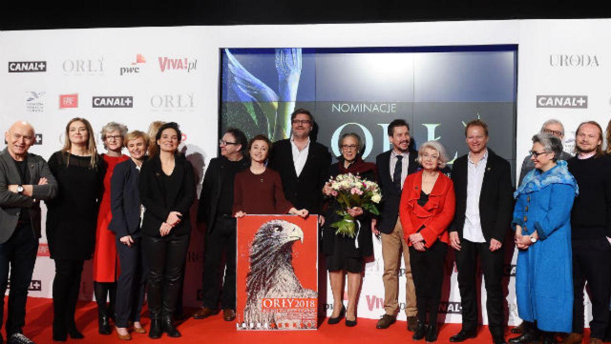 Polscy filmowcy podczas ogłoszenia nominacji (fot. PAP/Radek Pietruszka)