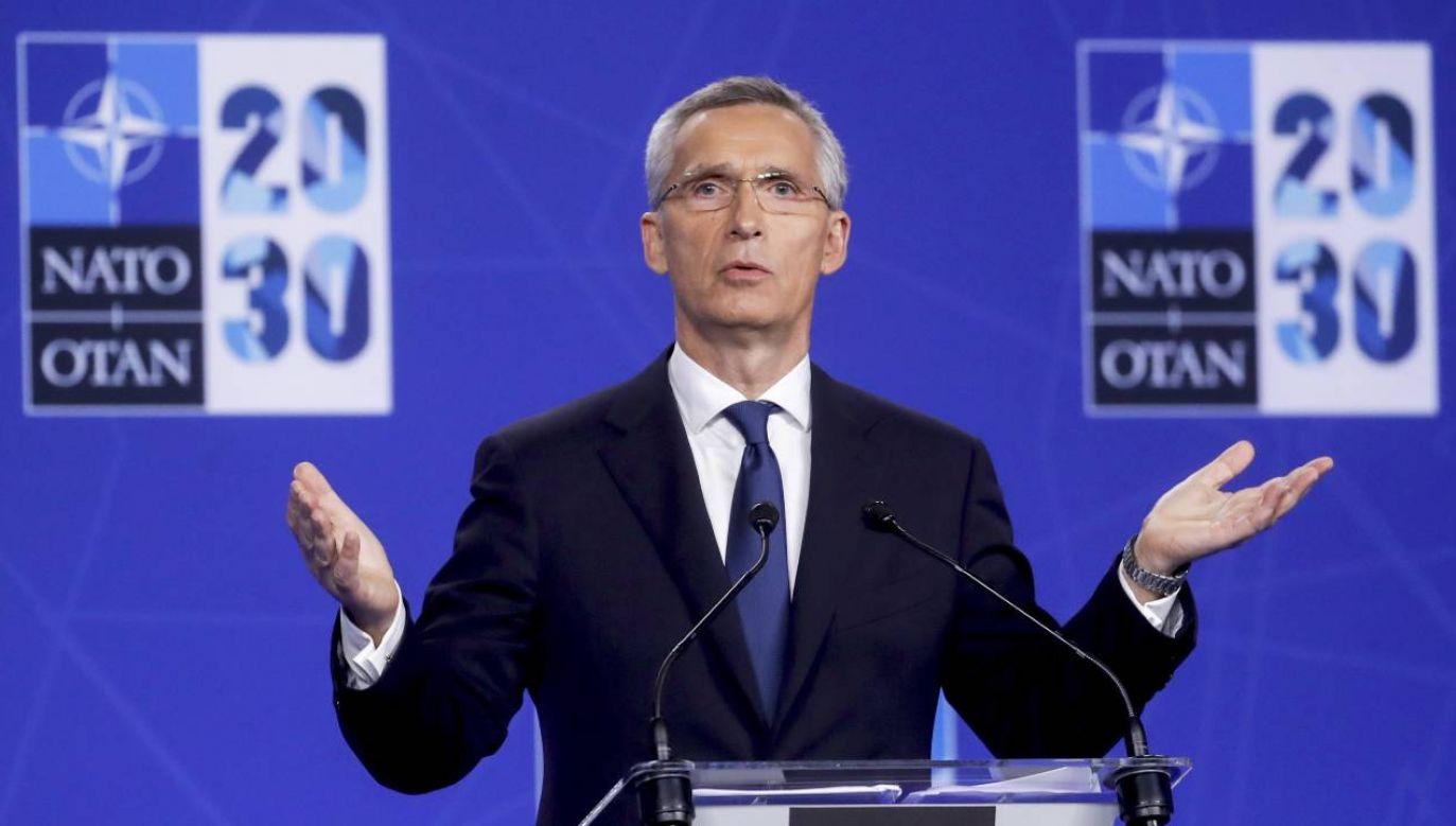 Przewodniczący NATO Jens Stoltenberg skrytykował Chiny i Rosję (fot. PAP/EPA/OLIVIER HOSLET / POOL)