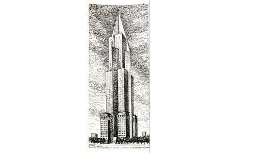 """Projekt Warszawskiego Centrum Handlowego, czasopismo """"Architektura"""" Nr 1 1990/1991"""