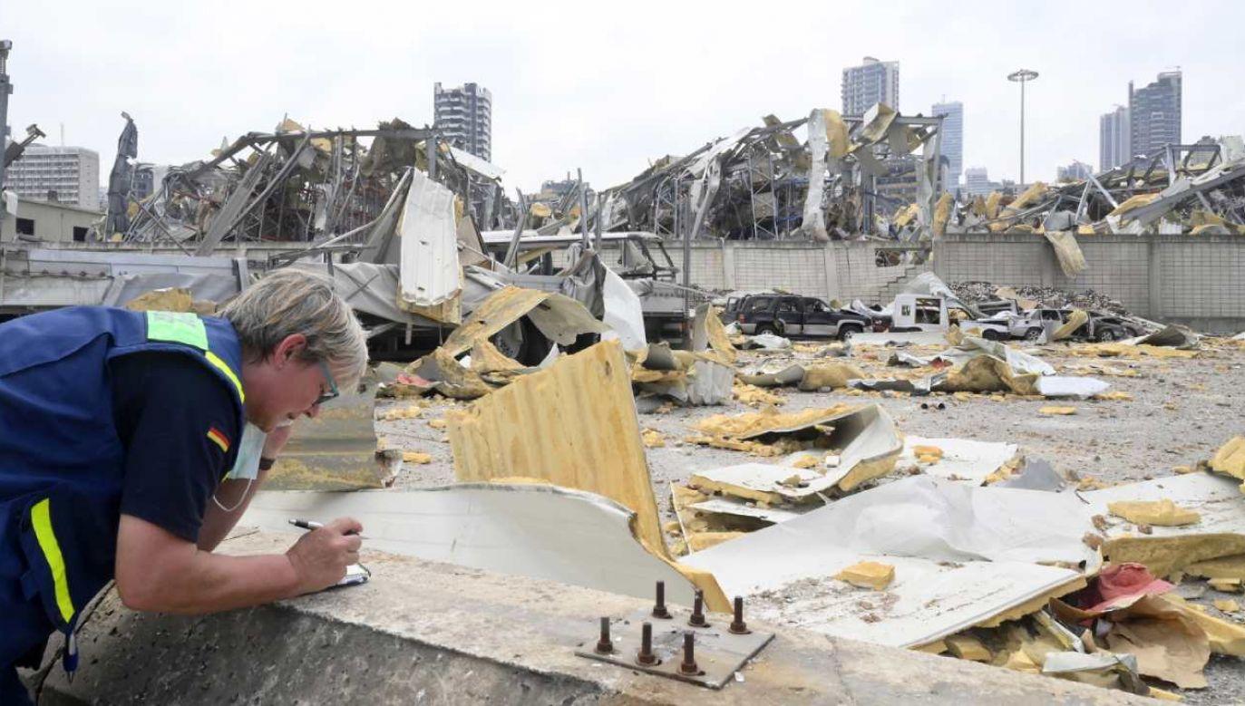 Do eksplozji doszło w składach bejruckiego portu, gdzie od kilku lat przechowywano saletrę amonową (fot. PAP/EPA/WAEL HAMZEH)
