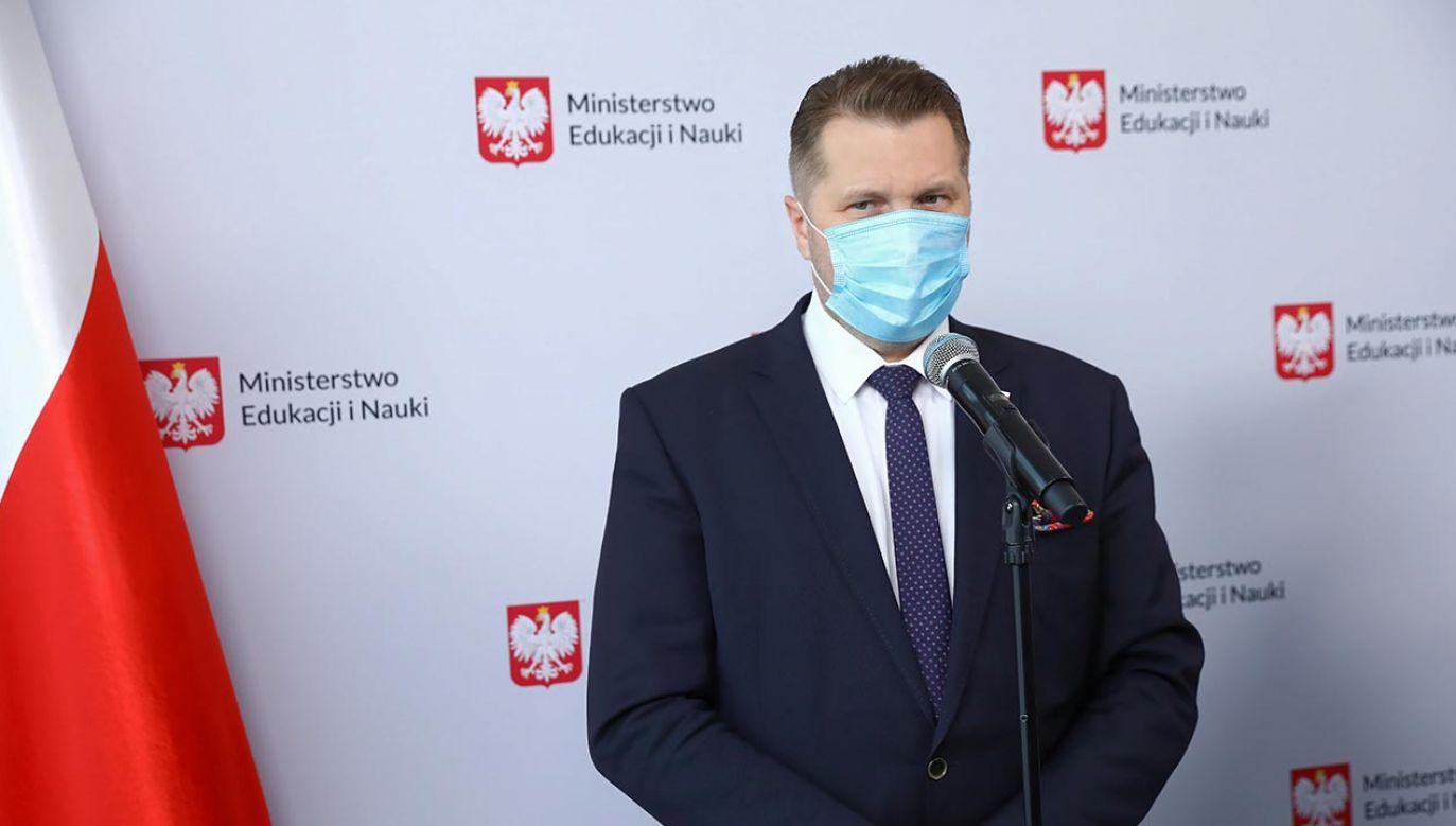 Konferencja prasowa ministra edukacji Przemysława Czarnka (fot. PAP/Rafał Guz)