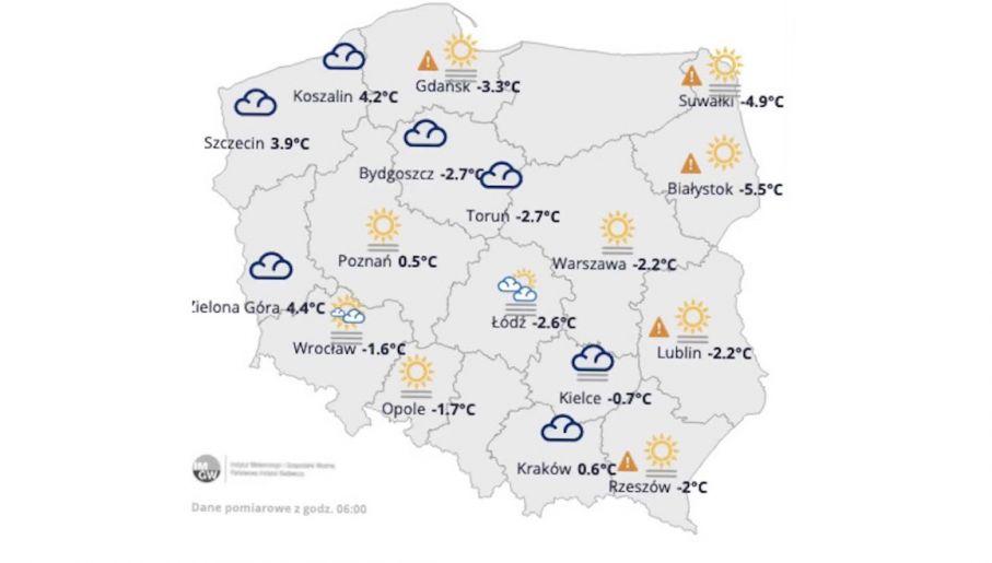 Pogodowa mapa Polski na wtorek 23 lutego 2021 (fot. IMGW)