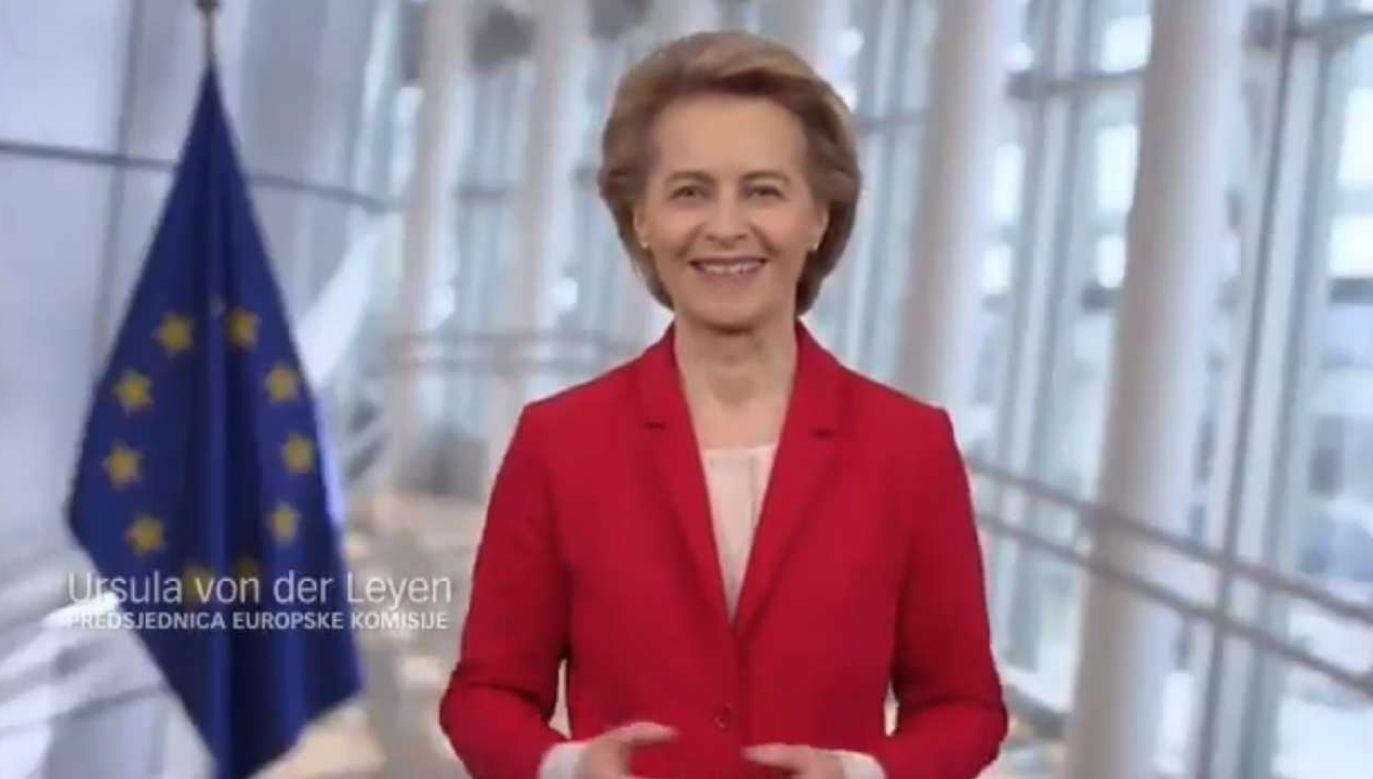 Szefowa KE Ursula Von der Leyen  wyraziła polityczne poparcie dla partii premiera Chorwacji Plenkovicia (fot. źródło: Twitter/@HDZ_HR)