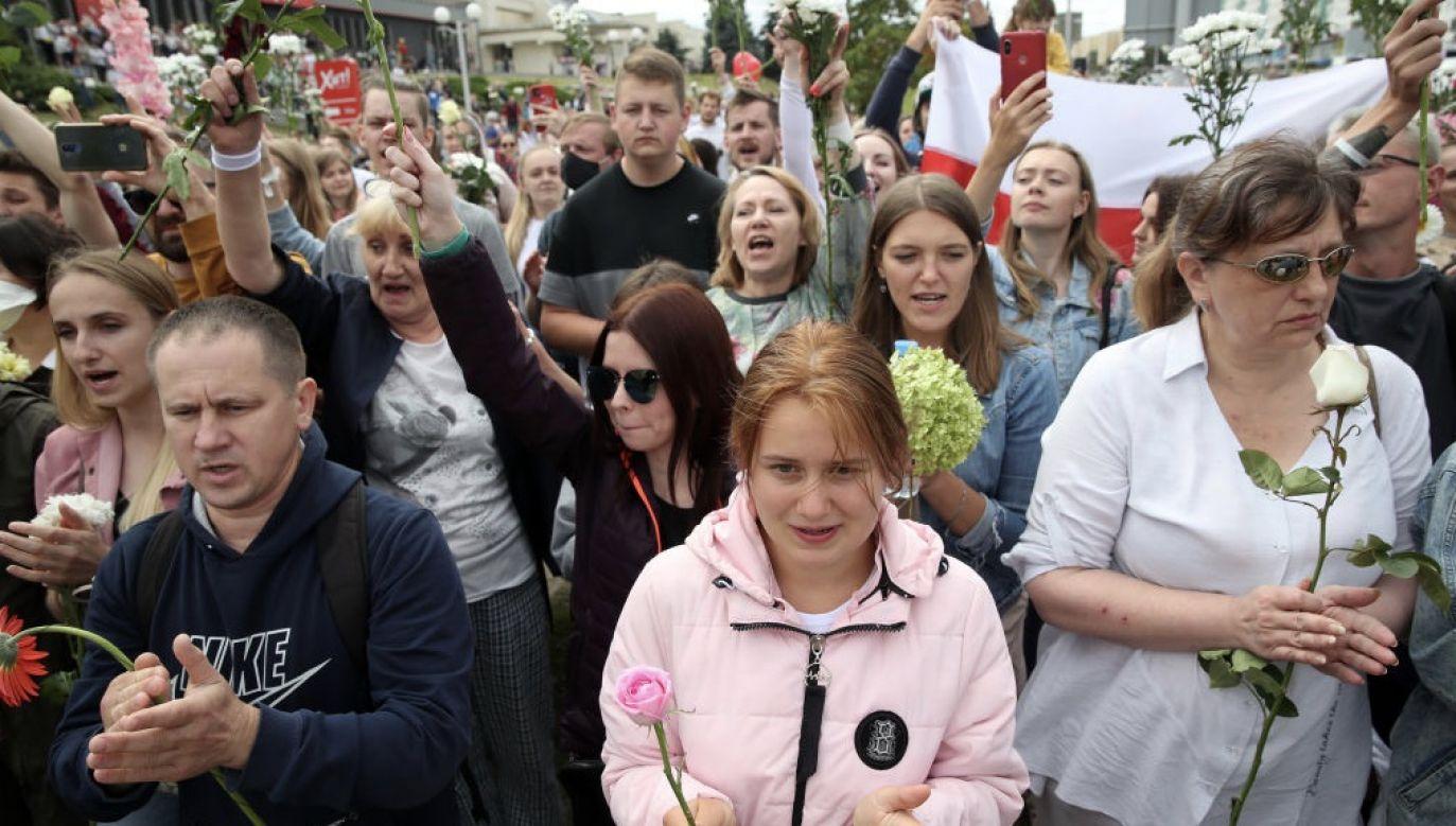 Na Białorusi największe demonstracje opozycyjne od 1991 roku (fot. Natalia Fedosenko\TASS via Getty Images)