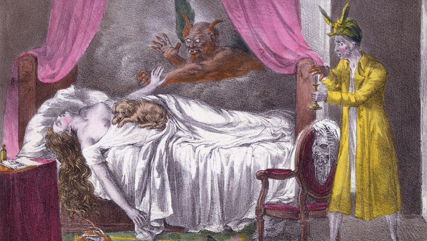 """Koszmar"" z ""L'Album comique"", wyd. 1825 rok, ręcznie kolorowany grawerunek. Fot. Historica Graphica Collection / Heritage Images / Getty Images"