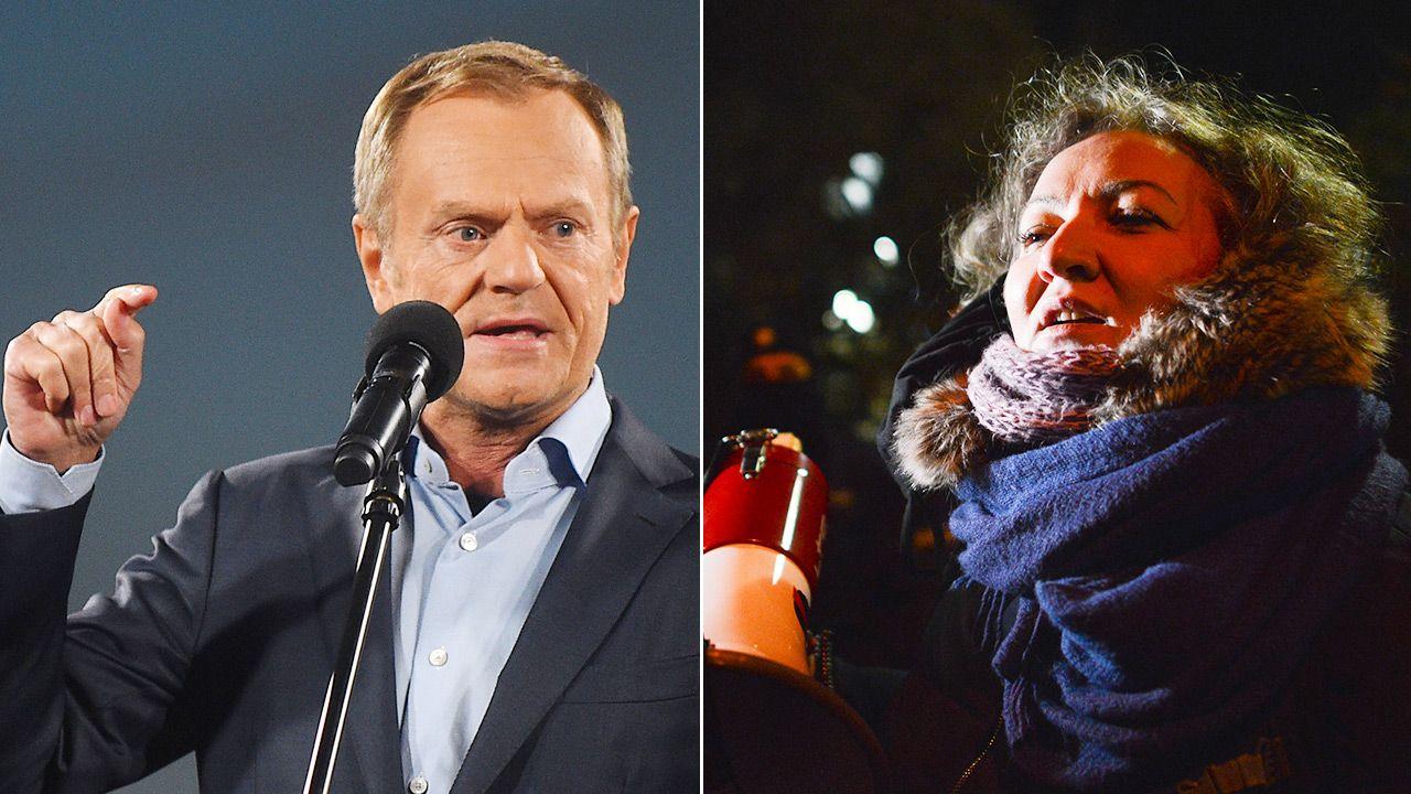 Donald Tusk i Marta Lempart (fot. Forum/ Adam Chelstowski,  Aleksiej Witwicki)
