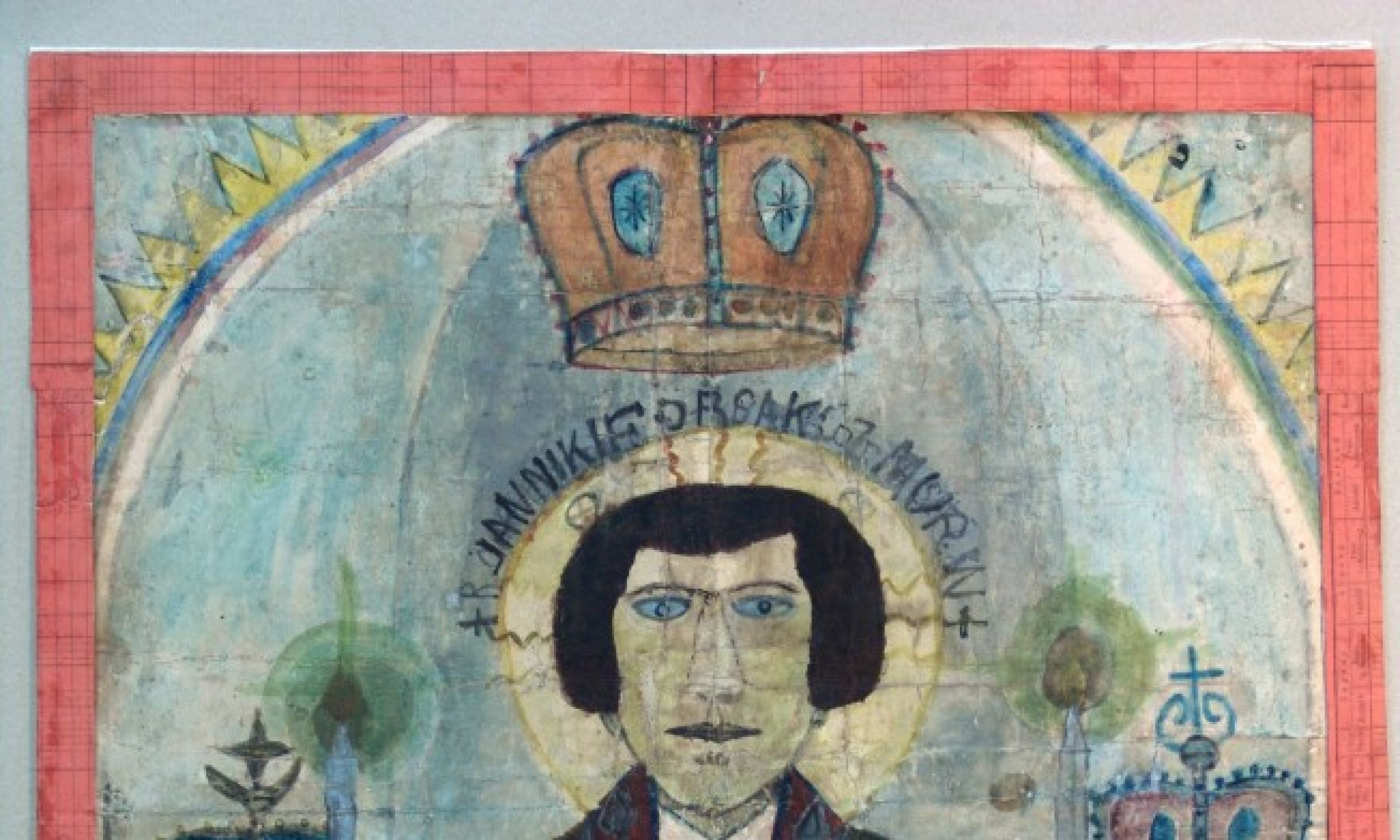 Był bardzo pobożny. Nie umiał czytać, więc sobie narysował sobie książeczkę do nabożeństwa. Na swój sposób się modlił. Na zdjęciu: autoportret potrójny. Fot. Muzeum Okręgowe w Nowym Sączu/Piotr Droździk