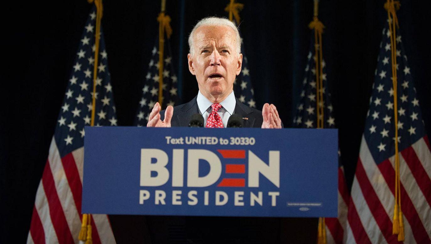 Kandydat Demokratów na prezydenta Stanów Zjednoczonych Joe Biden (fot. PAP/EPA/TRACIE VAN AUKEN)