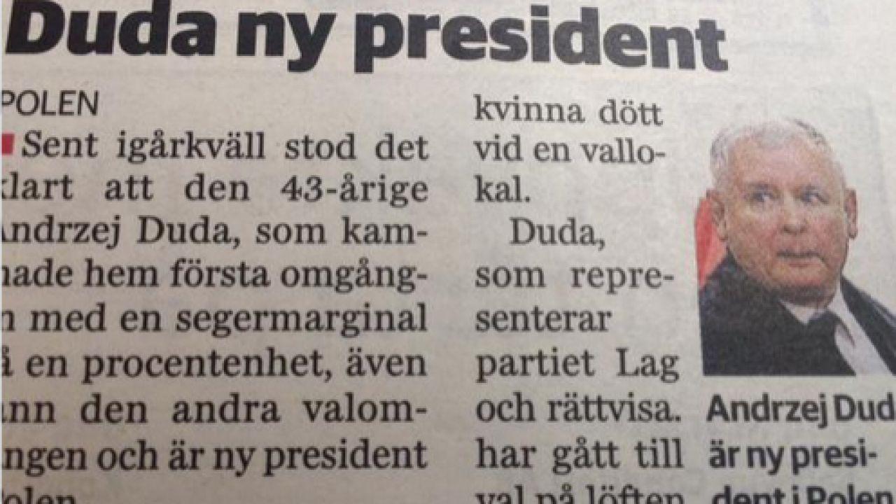 Pomyłka w jednej ze szwedzkich gazet (fot. Facebook)