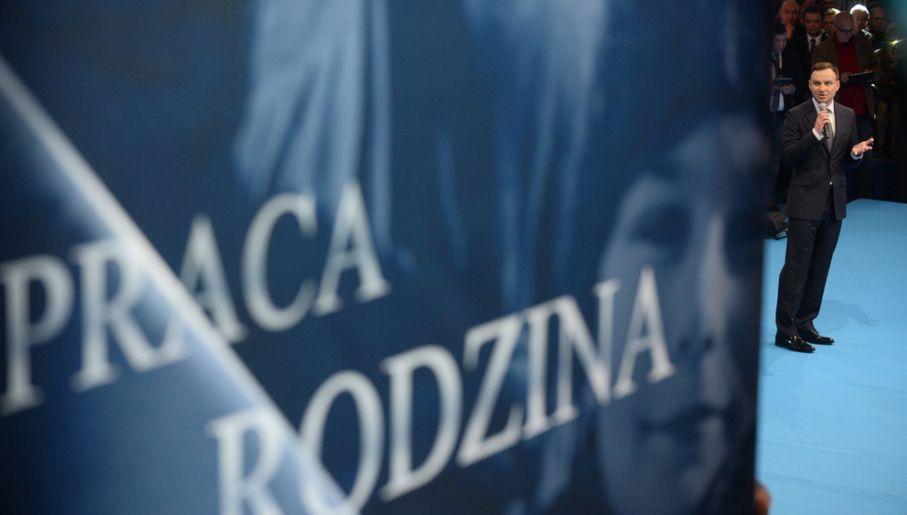 Andrzej Duda na sobotnim wystąpieniu (fot. PAP/Bartłomiej Zborowski)