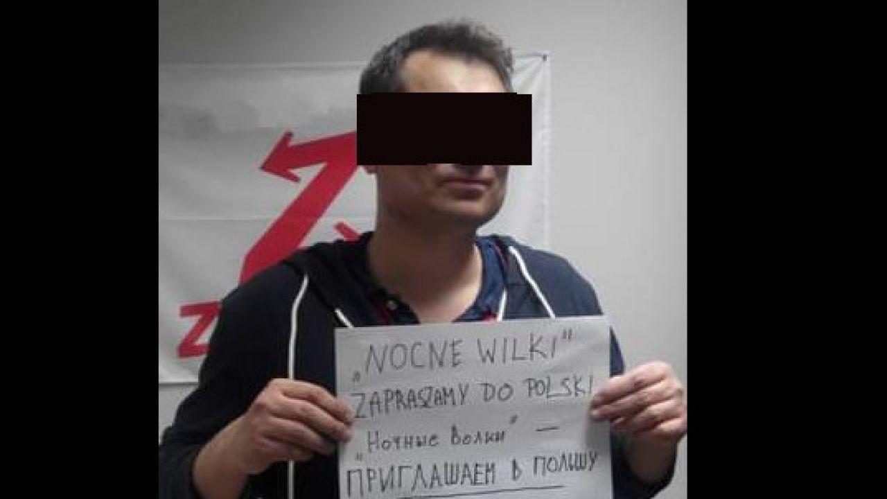 """Tak N. witał rosyjski klub motocyklowy """"Nocne Wilki"""", kojarzony z reżimem Władimira Putina (fot. facebook)"""