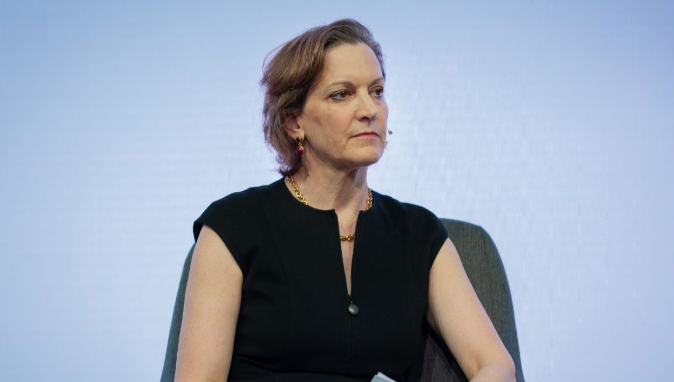 "Publicystka ""The Washington Post"" Anne Applebaum w trakcie panelu ""Zagrożonme demokracje"" w 2019 r. w Barcelonie (fot. David Zorrakino/Europa Press via Getty Images)"