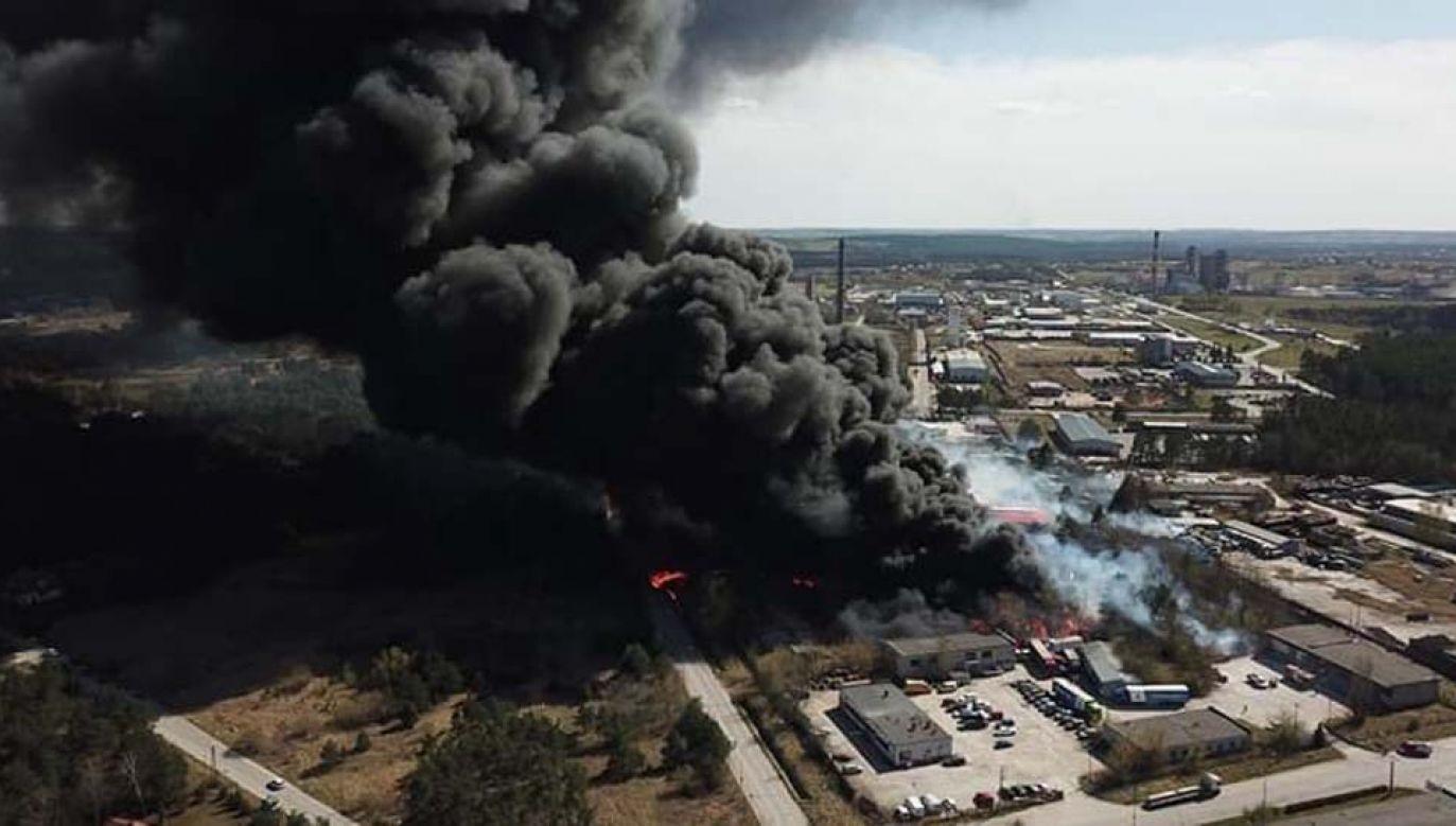 Pożar składowiska chemikaliów (fot. TT/Beatrycze)