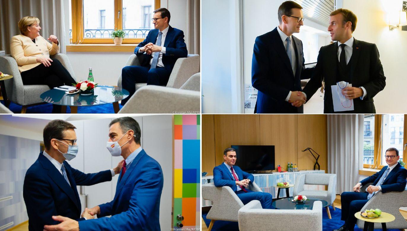 Premier Polski Mateusz Morawiecki z prezydentem Francji Emmanuelem Macronem, kanclerz Niemiec Angelą Merkel i premierem Hiszpanii Pedro Sanchezem (fot. Krystian Maj/KPRP)