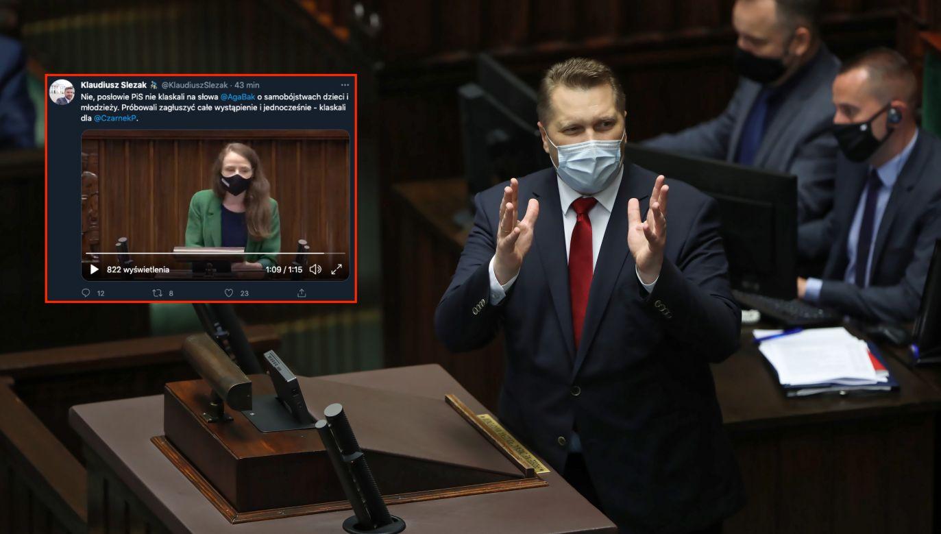 Minister Przemysław Czarnek w Sejmie (fot. PAP/Wojciech Olkuśnik)