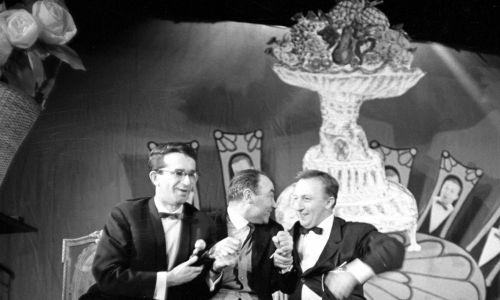 """W programie TVP Jerzego Gruzy """"Poznajmy się"""" (1964 r.) tworzył duet konferansjerów razem z Jackiem Fedorowiczem. Fot. TVP"""